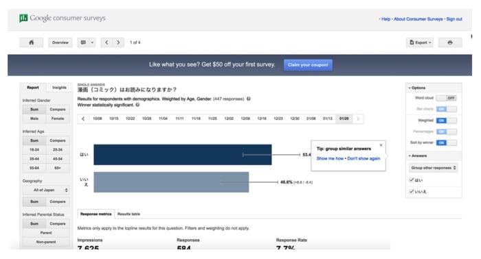 Google Consumer Surveys(Google 消費者アンケート)