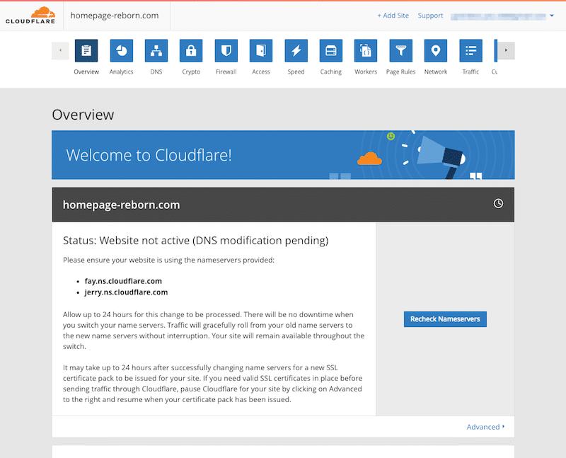 CloudflareのWebサイト登録完了画面