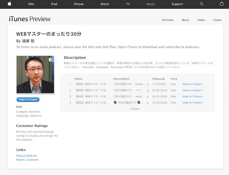 iTunes(Apple Podcasts)での配信