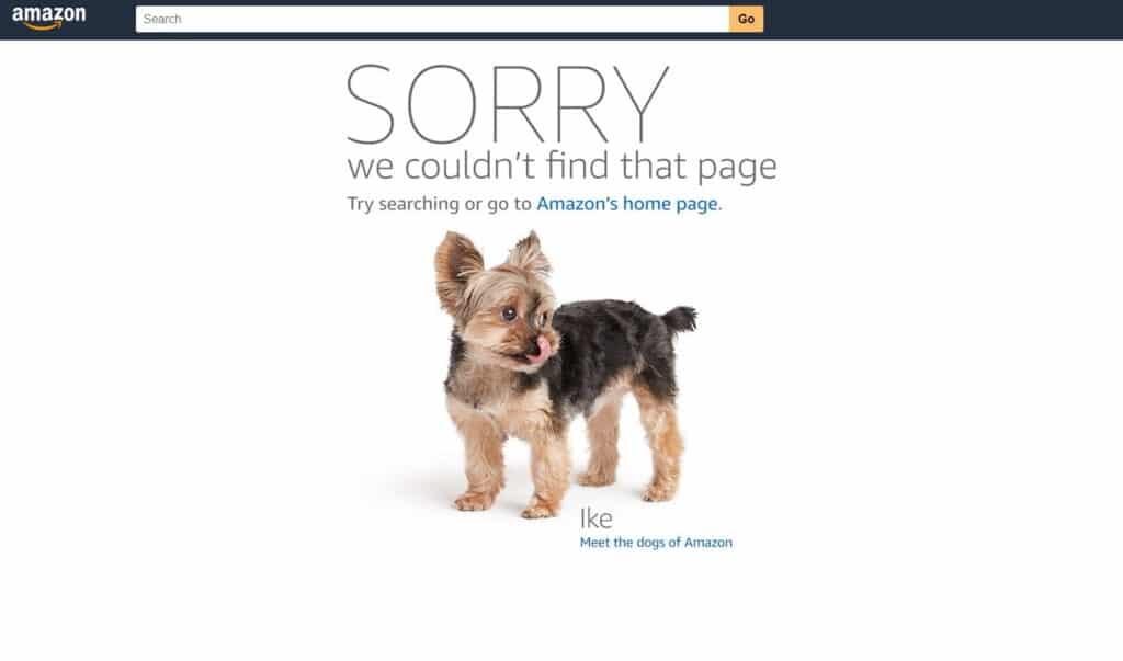 米Amazonの404ページ
